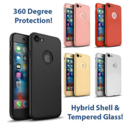 iPhone 7 360º Ultra Thin Hard Hybrid Case & Tempered Glass