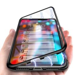 iPhone X / XS Magnetic Absorption Metal Case With Tempered Glass Back
