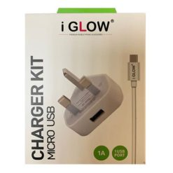 iGlow High Quality 1A USB Port Mains Charger & Micro USB Cable