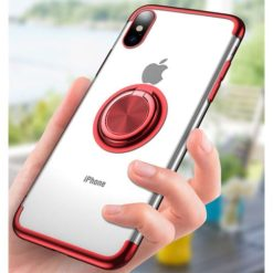 iPhone X / XS Ultra Thin Clear Gel & Chrome Effect Case With Magnetic Ring Stand