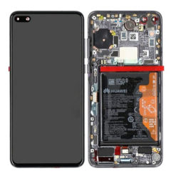 Genuine Huawei P40 LCD Screen & Touch Digitiser With Frame & Battery - Black