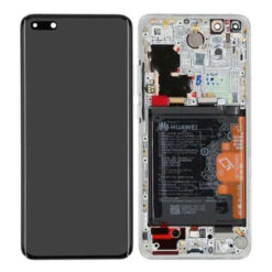 Genuine Huawei P40 Pro LCD Screen & Touch Digitiser With Frame & Battery - 14 Day - Ice White