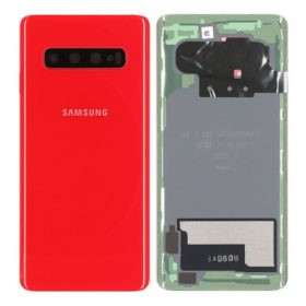 Genuine Samsung Galaxy S10 Rear Back Glass / Battery Cover With Camera Lens - Cardinal Red