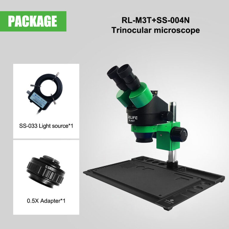 RELIFE RL-M3T Trinocular Stereo Microscope 7X-45X Zoom LED Light